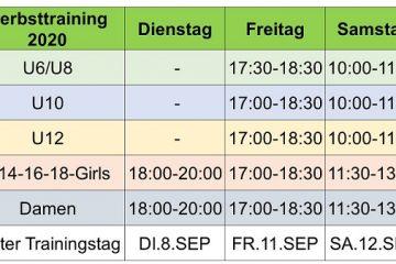 Trainingsplan für Herbst